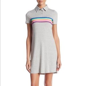 NWT love, fire Jersey Short Sleeve Rainbow Dress